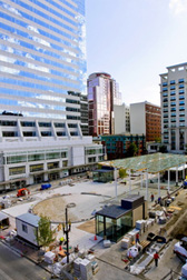 overhead view of Director Park in Portland, Oregon