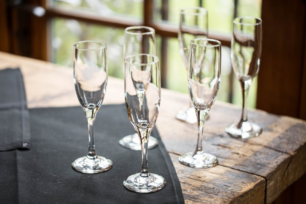 champaign flutes at Elephants Delicatessen Corbett Room event space