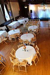 Elephants Deli catering event at North Star Ballroom set up with tables and chairs