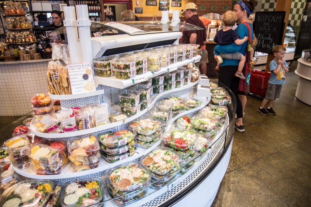 display case with salads at Elephants Delicatessen at Corbett