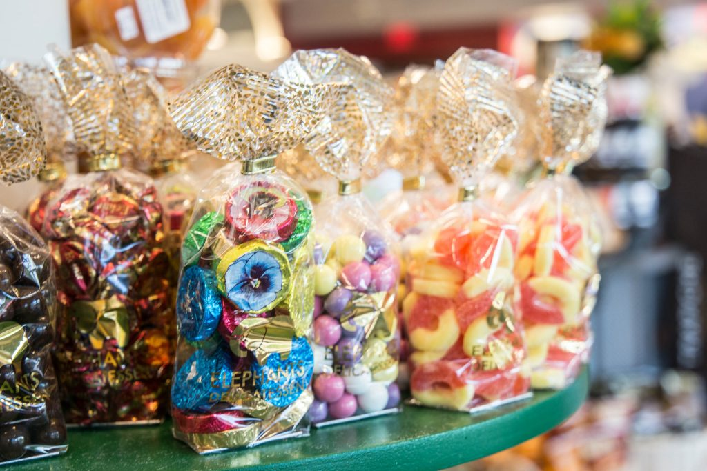 candy shelf with bags of candy at Elephants Delicatessen Kruse Way