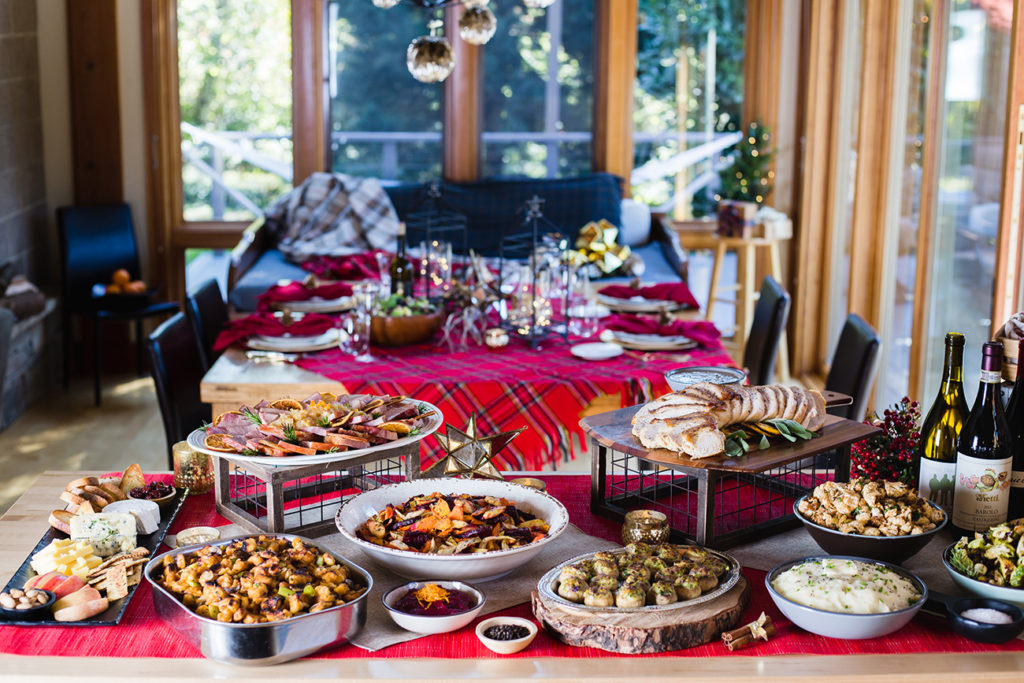 holiday food and decor