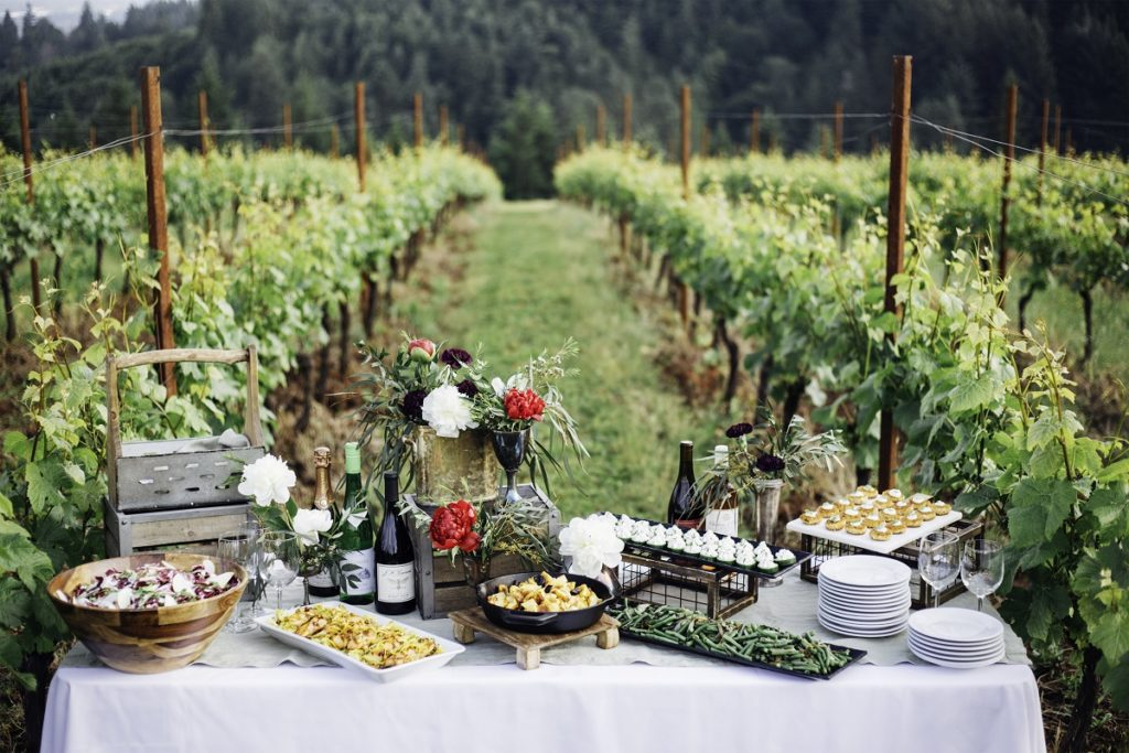Summer picnic in an Oregon vineyard from Elephants Catering