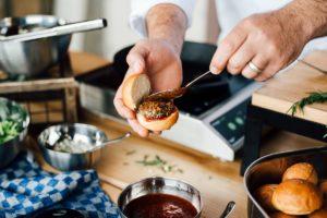 chef preparing a slider