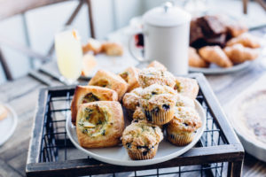 plate full of muffins and quiches